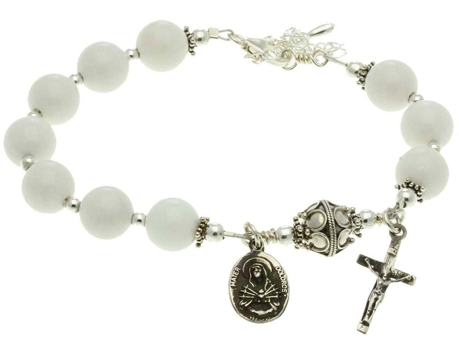 Sterling Silver 7 Sorrows Rosary Bracelet, White Jade 10mm, Crucifix
