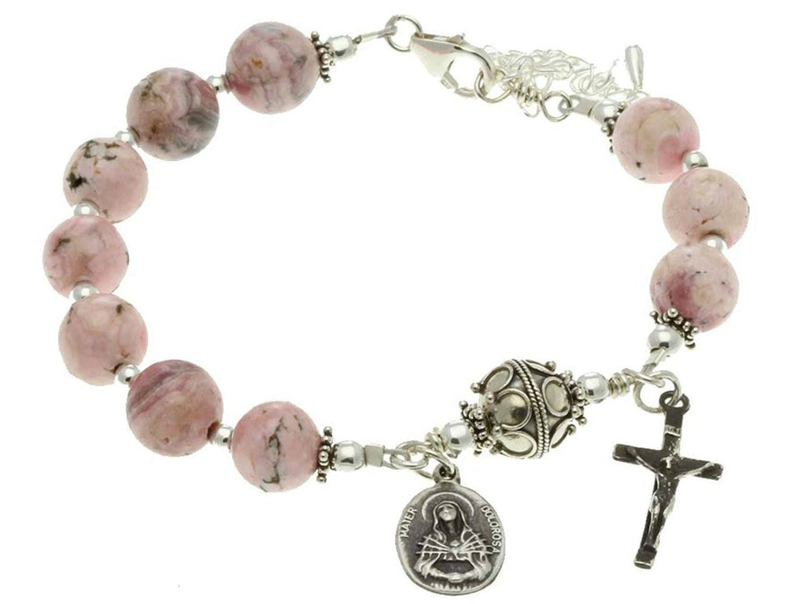 Sterling Silver 7 Sorrows Rosary Bracelet, Rhodochrosite 10mm