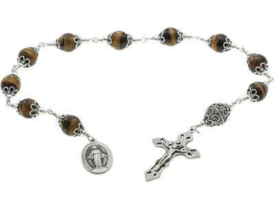 Sterling Silver Single Decade Rosary, 12mm Tiger Eyes