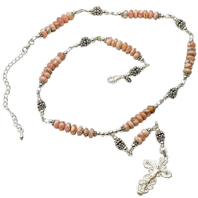 Sterling Silver 7 Sorrows Rosary Necklace Rhodochrosite