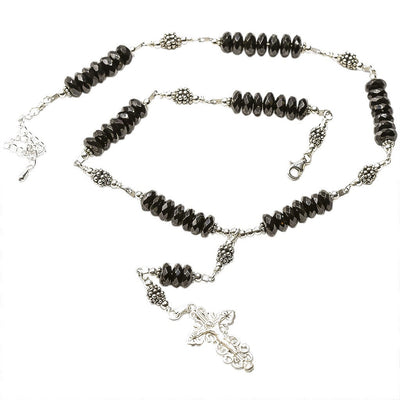 Sterling Silver 7 Sorrows Rosary Necklace Faceted Onyx