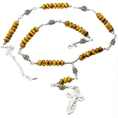 Sterling Silver 7 Sorrows Rosary Necklace Tiger Eyes