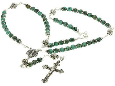 Sterling Silver Rosary Necklace Turquoise 6mm Crucifix, Miraculous Medal