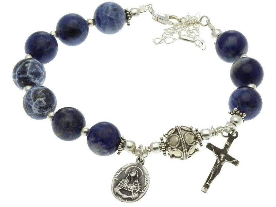 Sterling Silver 7 Sorrows Rosary Bracelet Sodalite Crucifix Our Lady of sorrows