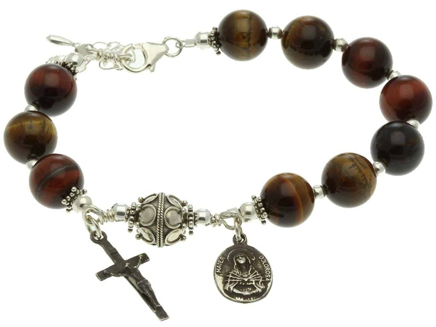 Sterling Silver 7 Sorrows Rosary Bracelet, Multi-Color Tiger Eyes 10mm