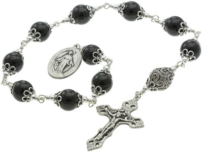 Sterling Silver Single Decade Rosary, 12mm Onyx, Crucifix, Miraculous