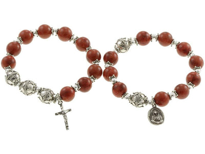 Sterling Silver Double Elastic Rosary Bracelet, Red Sponge Coral 10mm