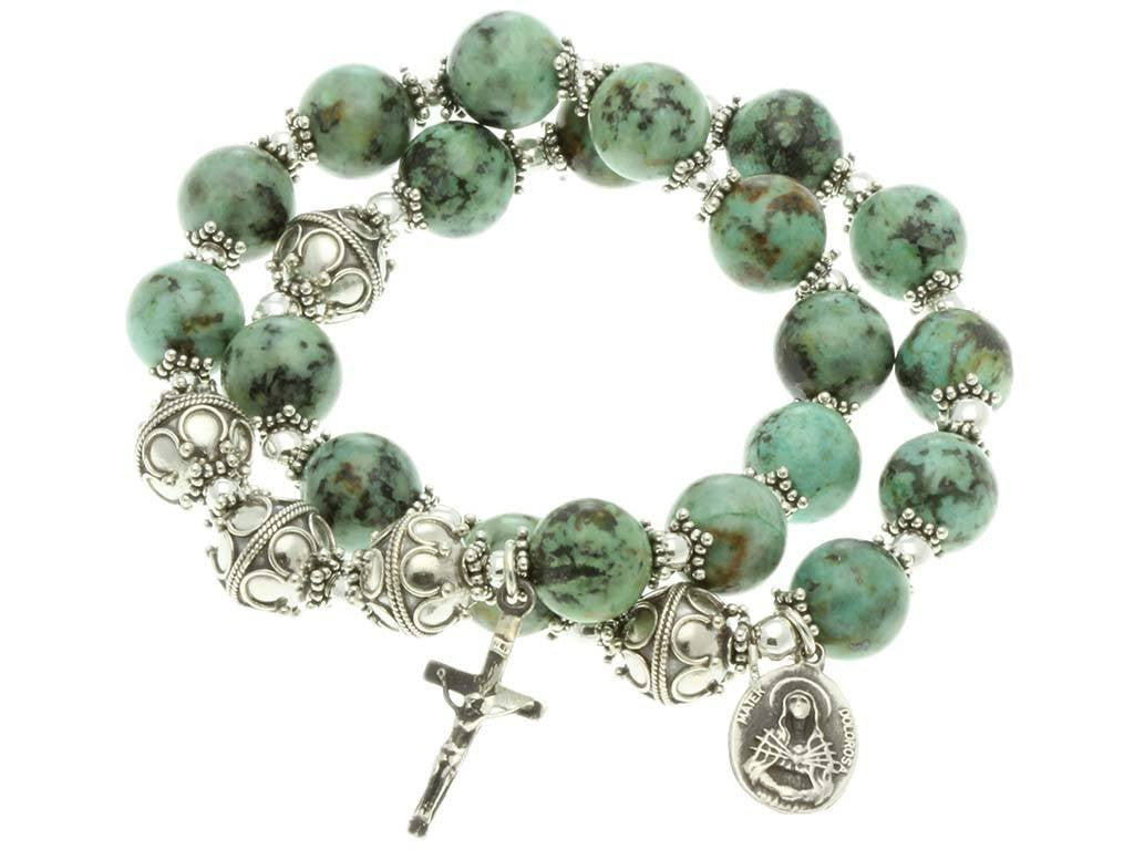 Sterling Silver Double Elastic Rosary Bracelet, Turquoise Gem Beads