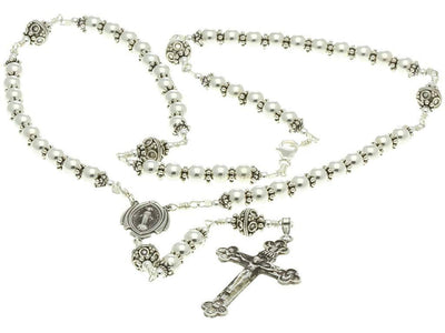 Sterling Silver Rosary Necklace 6mm beads, Crucifix & Miraculous Medal