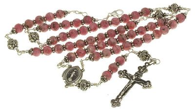 Sterling Silver Rosary Necklace, Rhodochrosite, Crucifix Miraculous Medal
