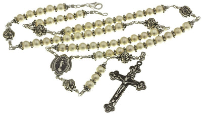 Sterling Silver Rosary Necklace Pearl Crucifix and Miraculous Medal