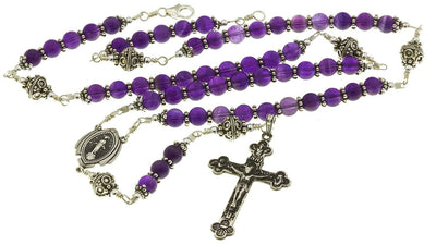 Sterling Silver Rosary Necklace Amethyst Crucifix Miraculous Medal