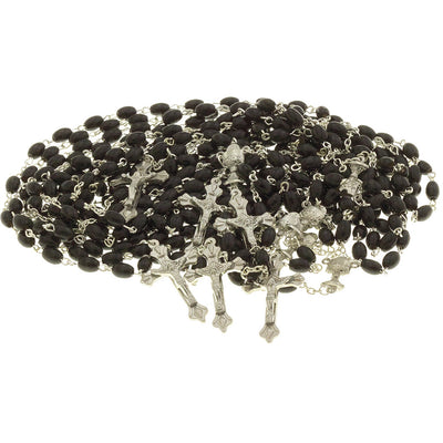 20 Black Wood Bead Rosary