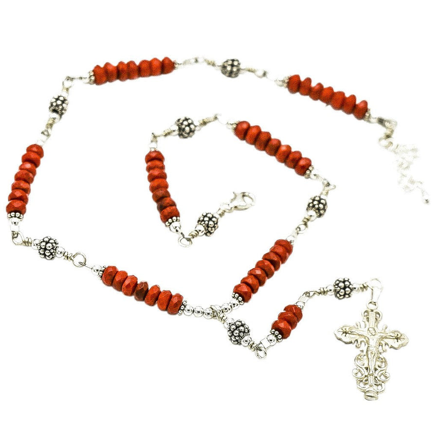 Sterling Silver 7 Sorrows Rosary Necklace Coral 6mm with Crucifix