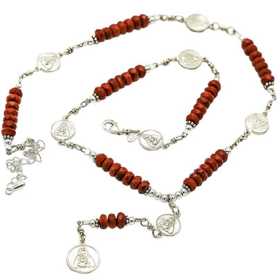 Sterling Silver 7 Sorrows Rosary 6mm Coral Necklace with 7 Sorrows Medal Set