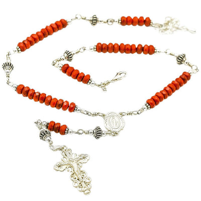 Sterling Silver Rosary Necklace, Red Coral 6mm with Crucifix & Miraculous Medal