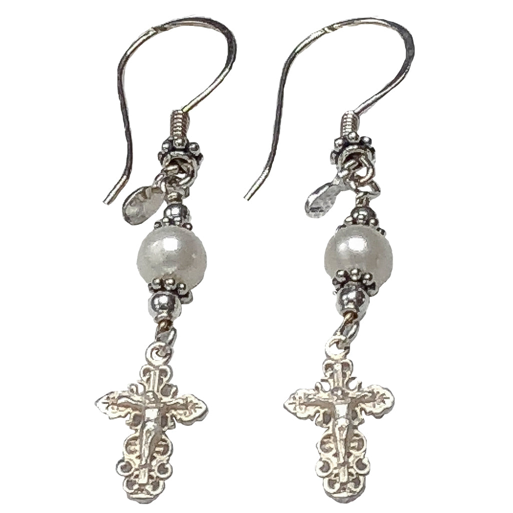 Handmade New Model, Sterling Silver Crucifix Earrings Freshwater-Cultured Pearl  #2