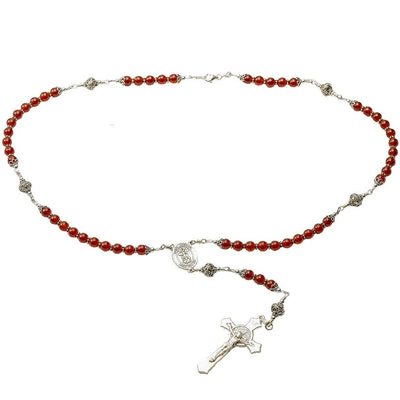 Sterling Silver Rosary Necklace, Carnelian 6mm, Crucifix & St Michael Medal