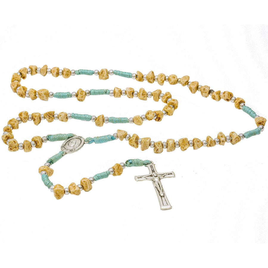 Handmade Medjugorje light Blue Cord Rosary Our Lady of Medjugorje Center Piece and Crucifix
