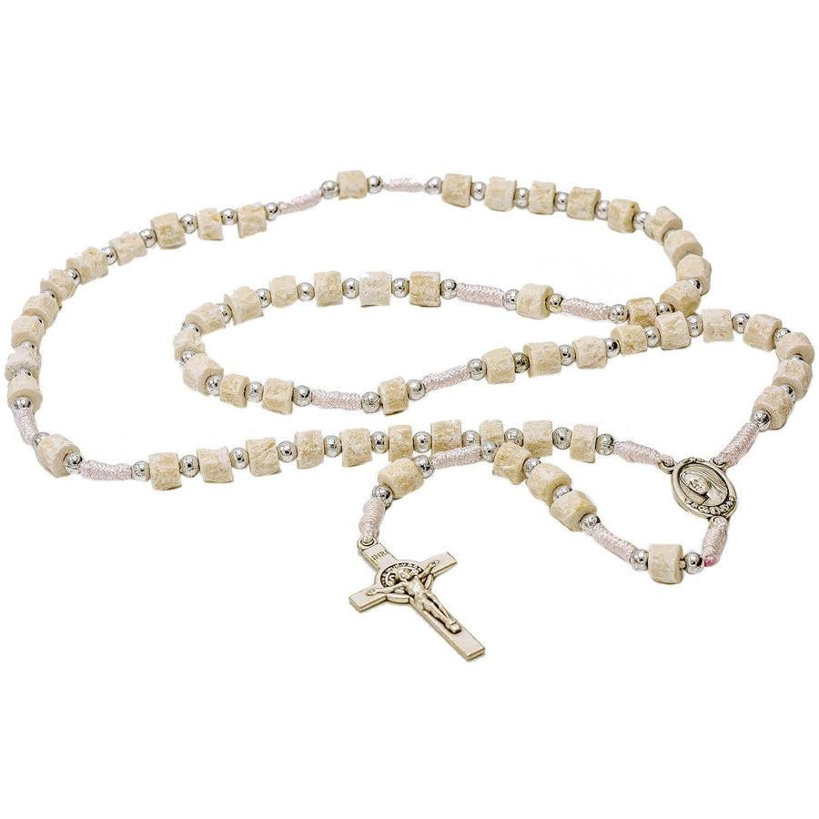 Medjugorje White Cord Rosary Our Lady of Medjugorje Medal and Saint Benedict Crucifix