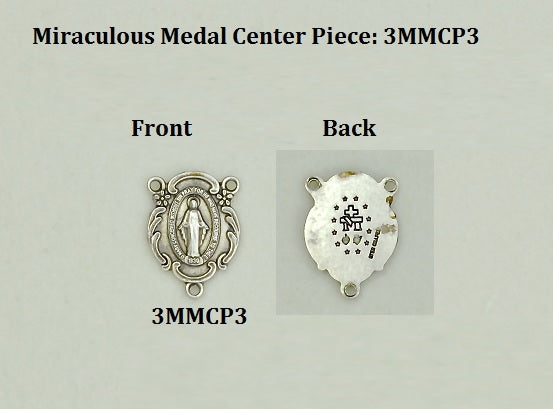 Miracle Medal Rosary Centerpiece for Small Rosaries - 7