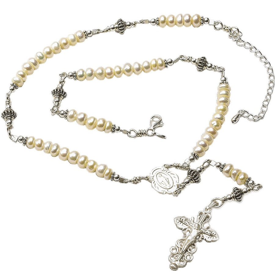 Sterling Silver Rosary Necklace, Freshwater-Cultured Pearl