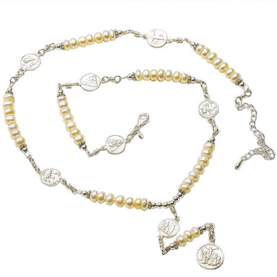 Sterling Silver 7 Sorrows Rosary Medal Set Pearl Necklace