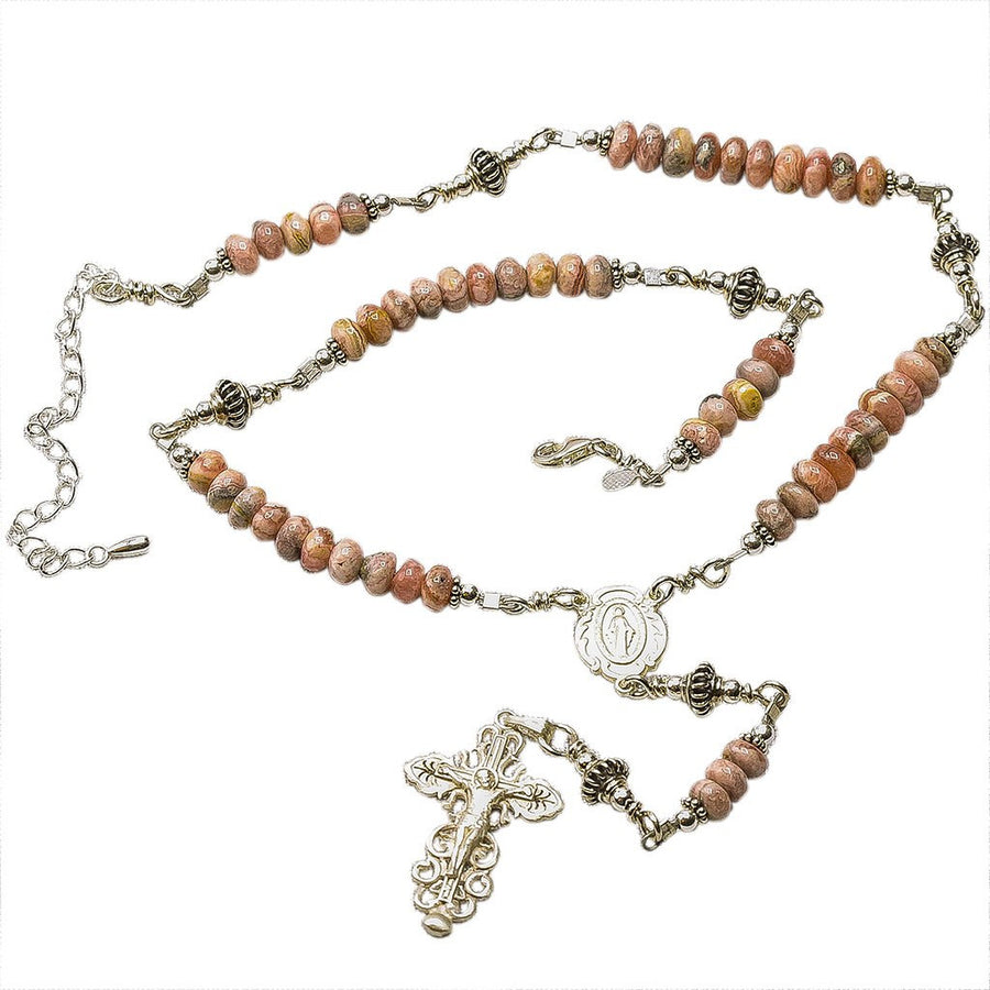 Sterling Silver Rosary Necklace, Rhodochrosite Stone