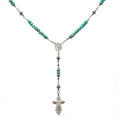 Sterling Silver Rosary Necklace Turquoise