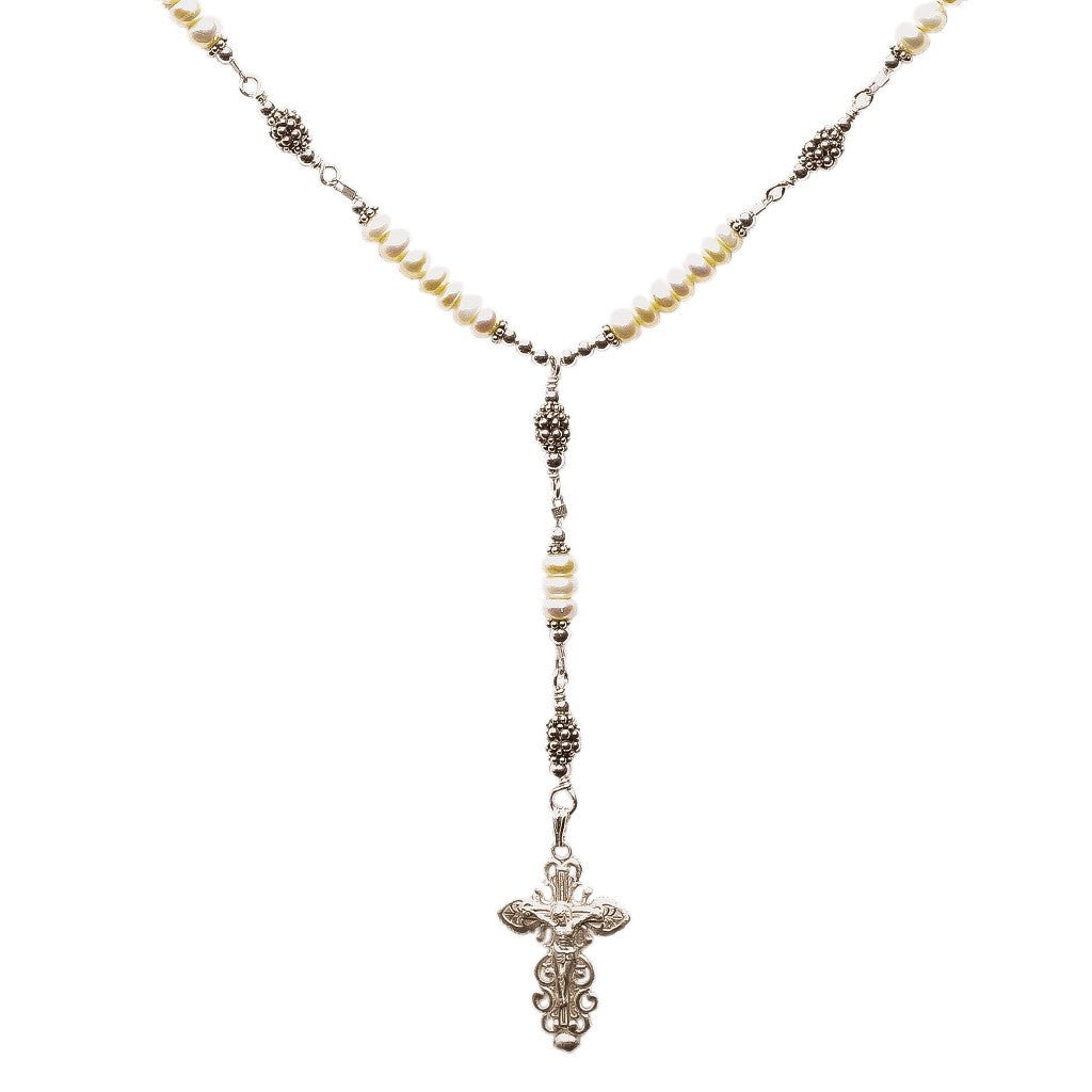 Sterling Silver 7 Sorrows Rosary Necklace Freshwater-Cultured Pearls
