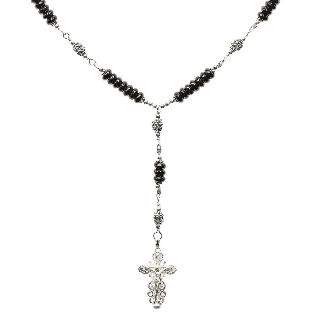 Sterling Silver 7 Sorrows Rosary Necklace Onyx