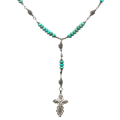 Sterling Silver 7 Sorrows Rosary Necklace Turquoise Beads
