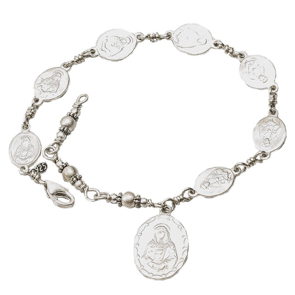 Sterling Silver Seven Sorrows Medal Set Bracelet