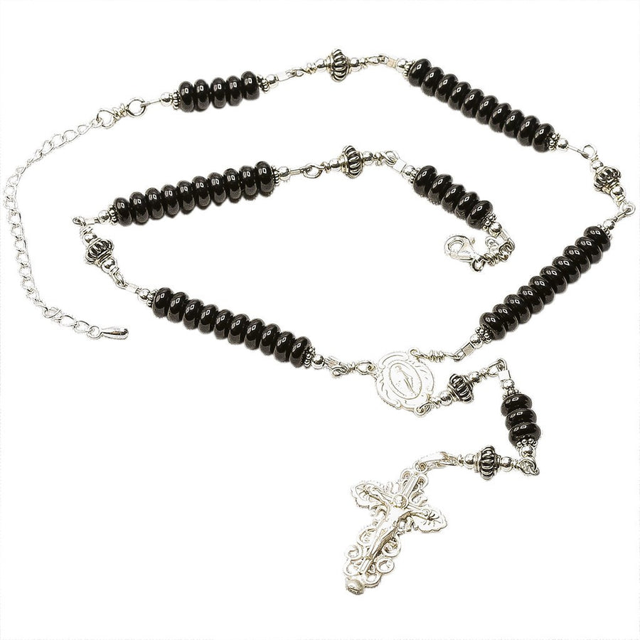 Sterling Silver Rosary Necklace Onyx 6mm
