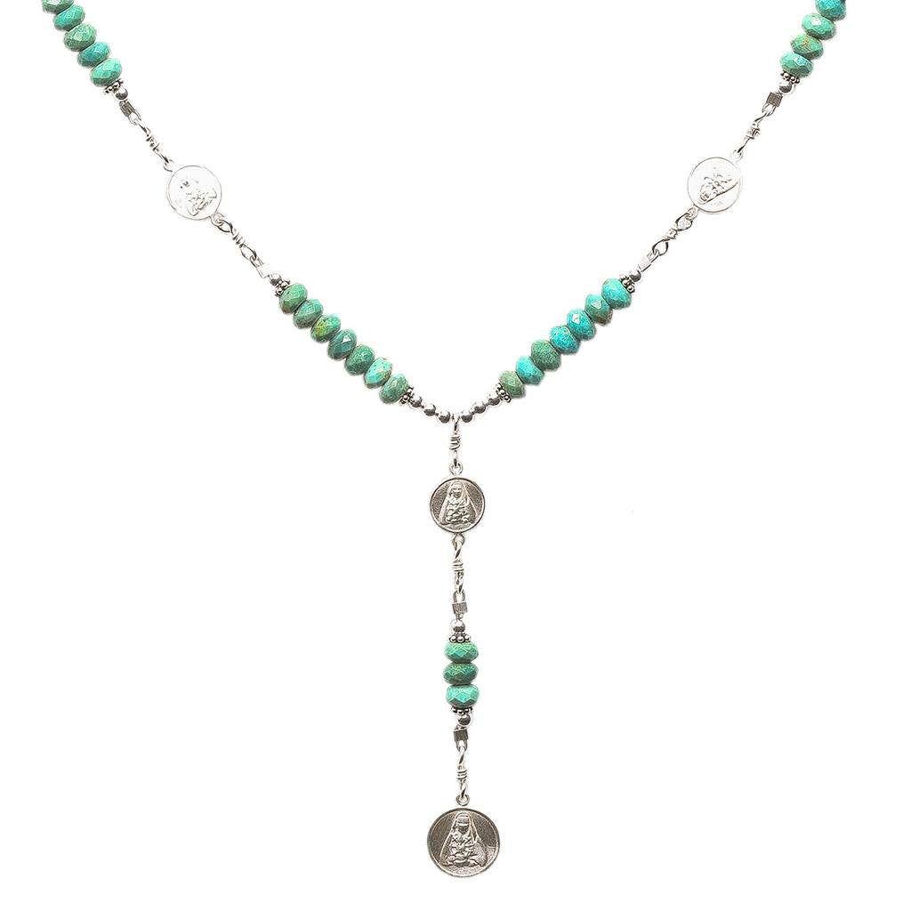Sterling Silver 7 Sorrows Rosary Medal Set Turquoise Necklace