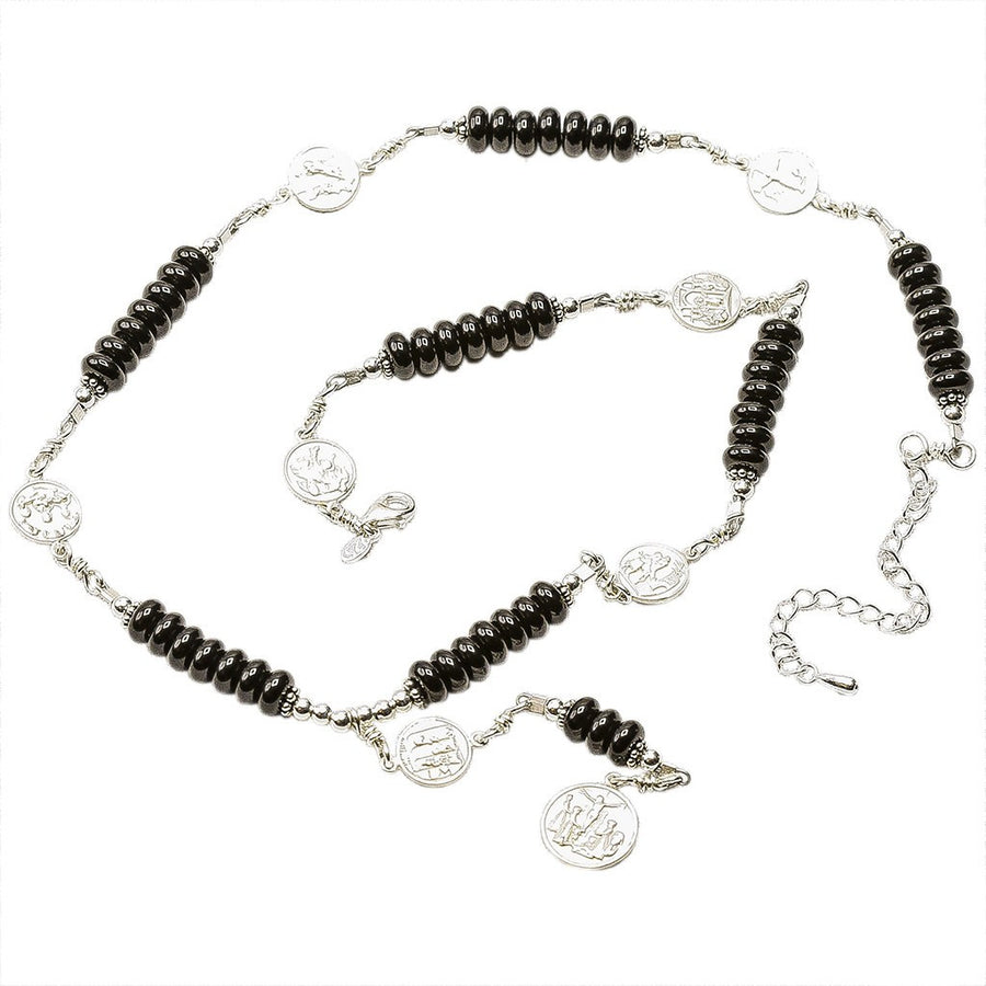 Sterling Silver 7 Sorrows Rosary 6mm Onyx Necklace