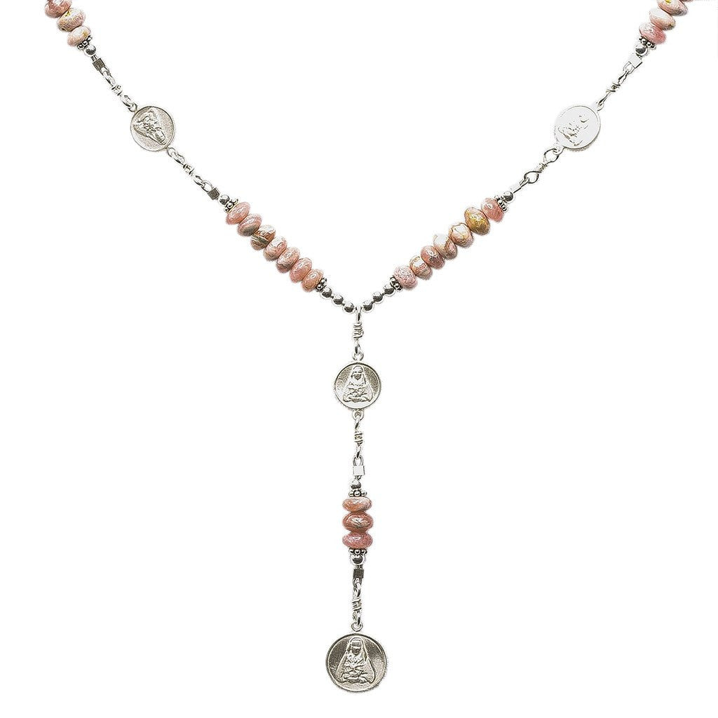 Sterling Silver 7 Sorrows Rosary Medal Set 6mm Rhodochrosite Necklace