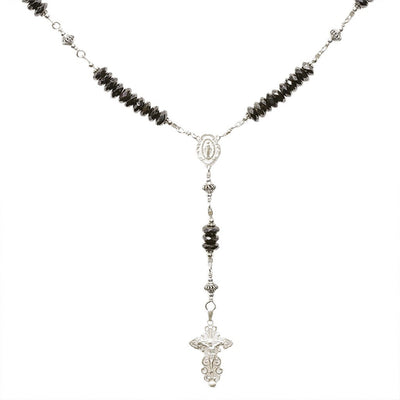 Sterling Silver Rosary Necklace with 6mm Faceted Onyx Gem beads