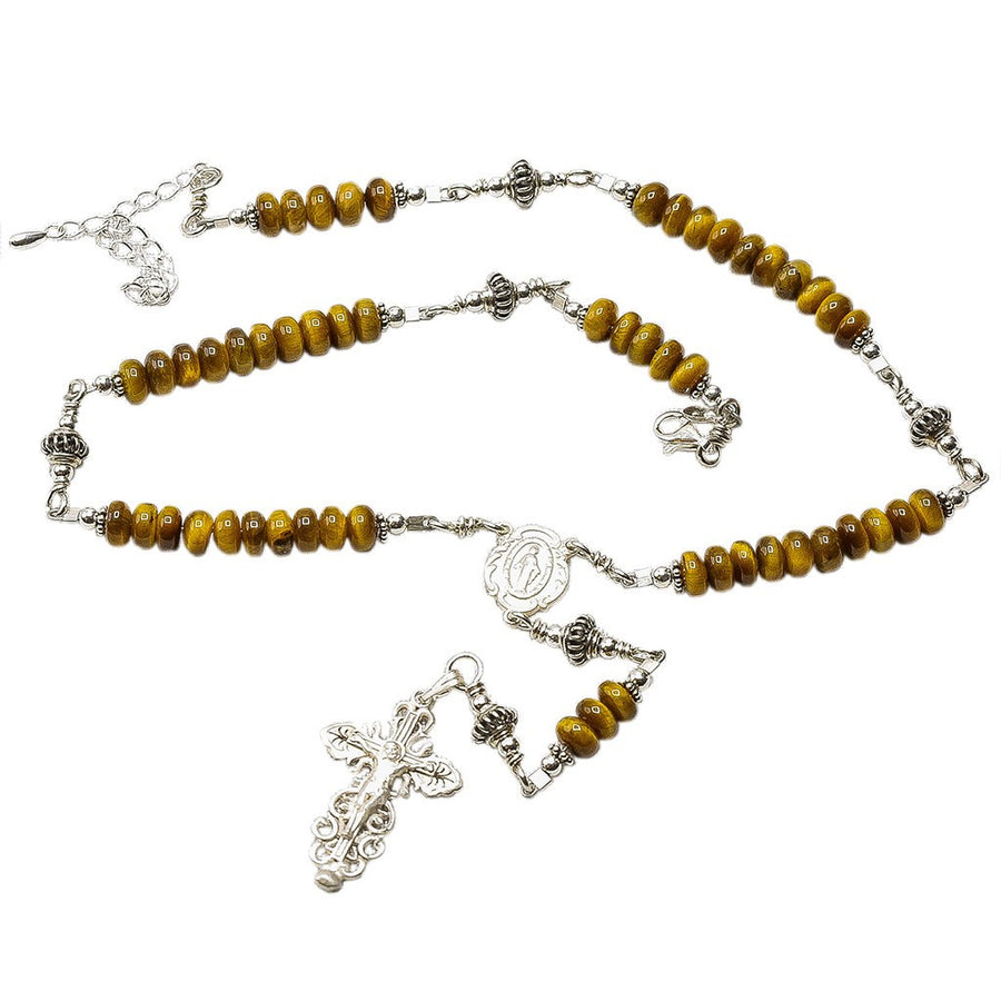 Sterling Silver Rosary Necklace Tiger Eyes 6mm