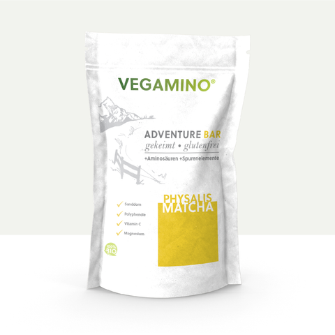 VEGAMINO® - ADVENTURE BAR - Physalis/Matcha 380g - bio, raw, glutenfrei