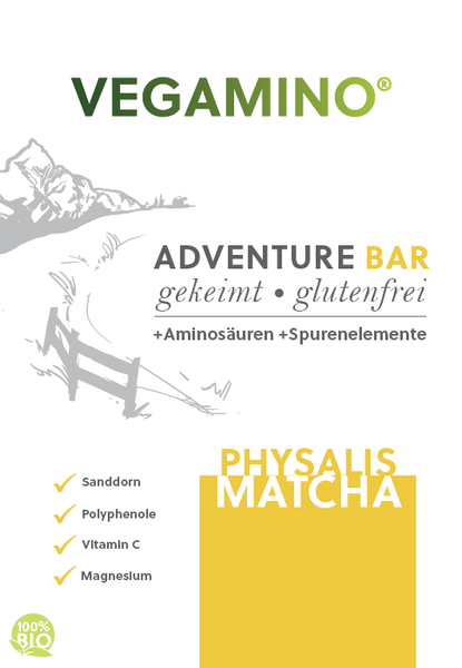 VEGAMINO® - ADVENTURE BAR - Physalis/Matcha 380g - bio