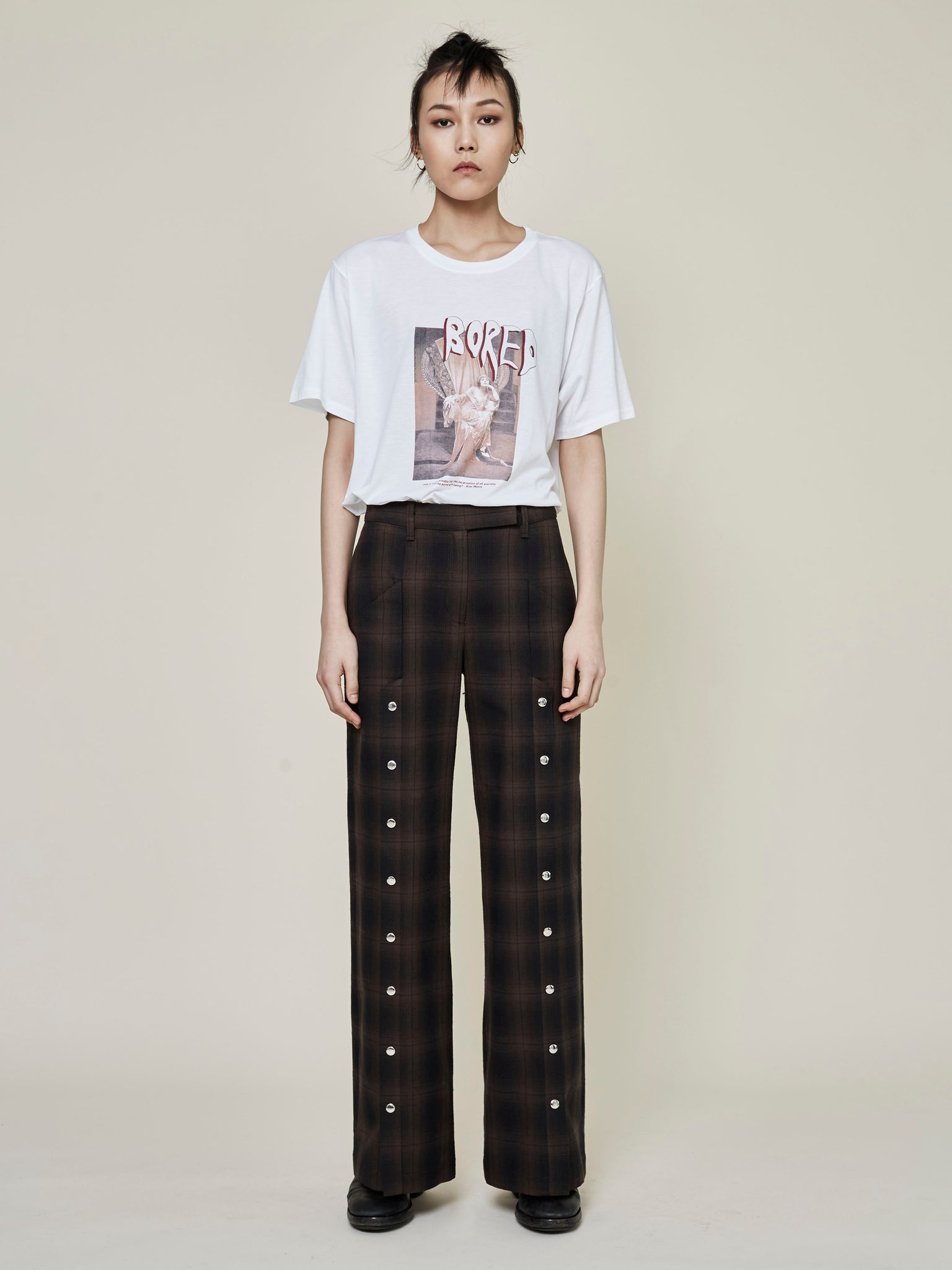 Plaid Slit Pant