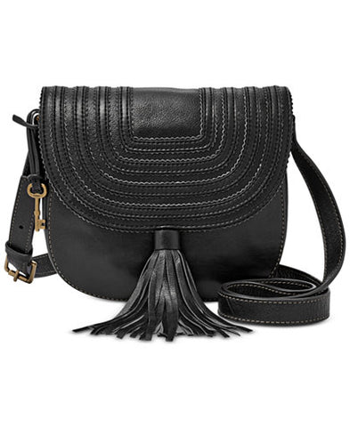 Black Fossil Leather Bag