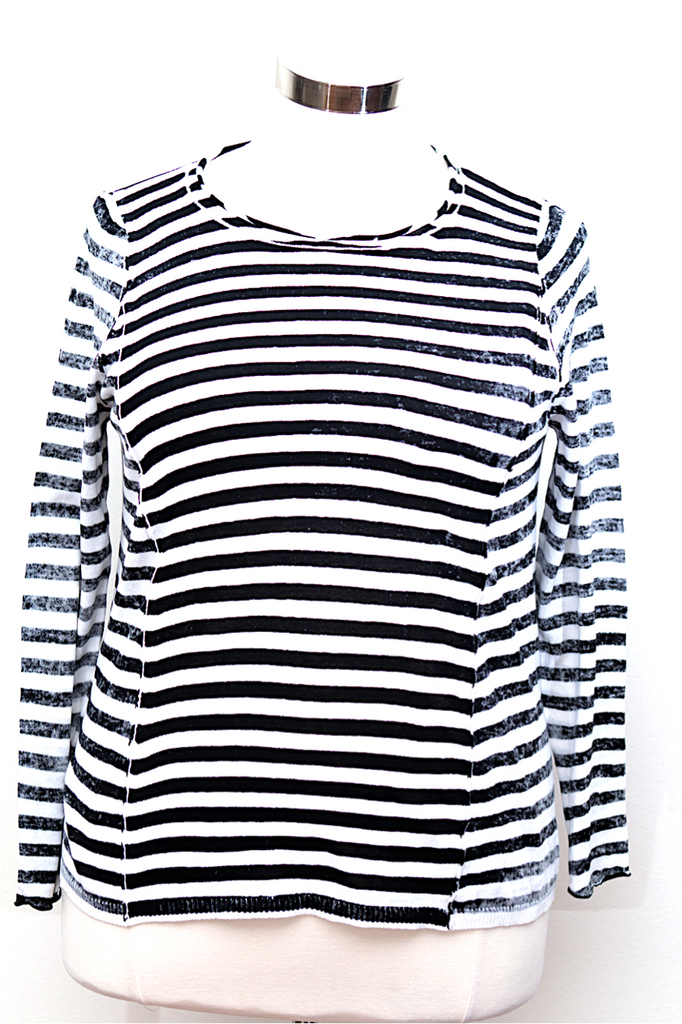 Lane Bryant - 6th and Lane Striped Black & White Crew Neck Sweater With Exposed Seam - Size 14/16