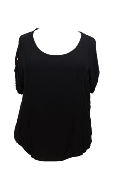 Fashion To Figure - Black Short Sleeve Top With Gold Button Detail On Arms and Back - Size 3