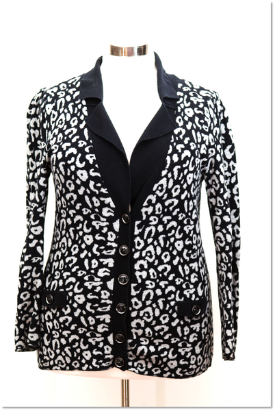 Lane Bryant - Black & Grey Button Front Cardigan With Collar - Long Sleeve - Size 14/16