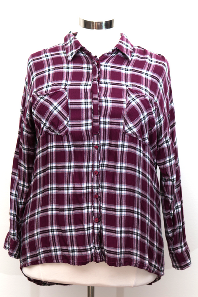 Simply Be - Label Be Soft Plaid Button Front Top With Pockets - Size 14
