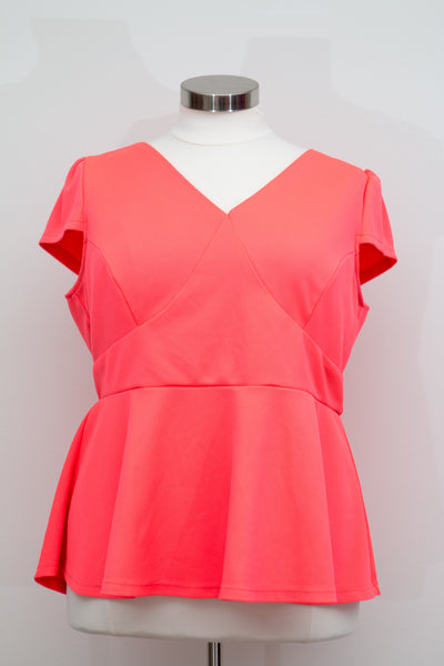 City Chic Coral Peplum Top - Size XXL