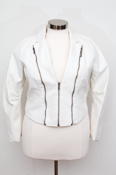 Manifesto White Faux Leather Jacket With Zipper Detail - Size 1X