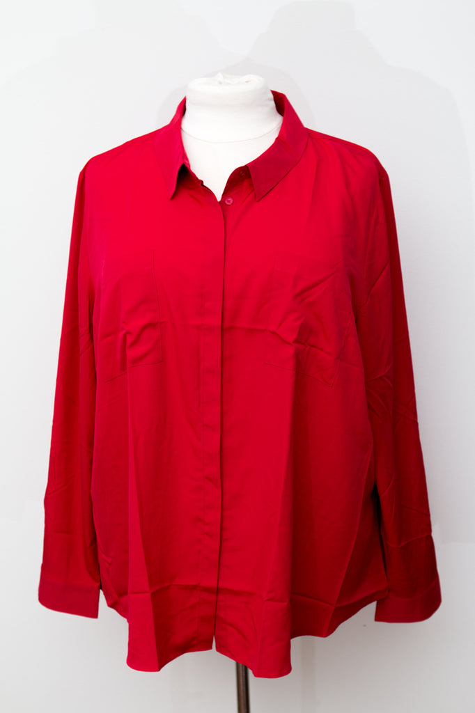 Lane Bryant Red Silky Button Up Dress Shirt - New With Tags - Size 26/28